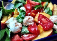 Nectarine, Tomato and Basil Salad with Torn Mozzarella