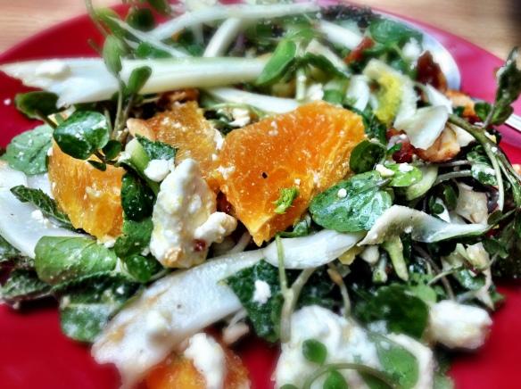 Feta and Orange Salad with Honeyed Almonds