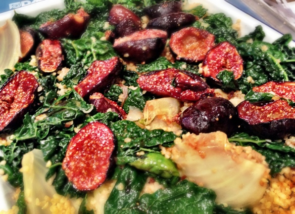 Cavolo Nero and Bulgar Pilaf with Glazed Figs