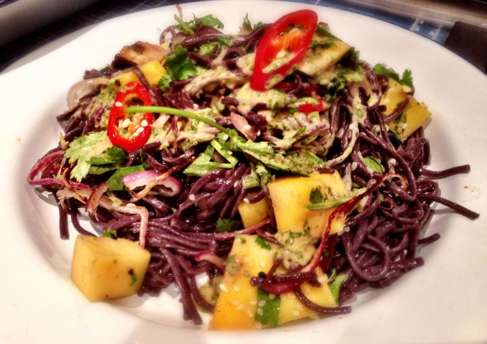 Roasted Aubergine and Mango Salsa with Black Rice Noodles