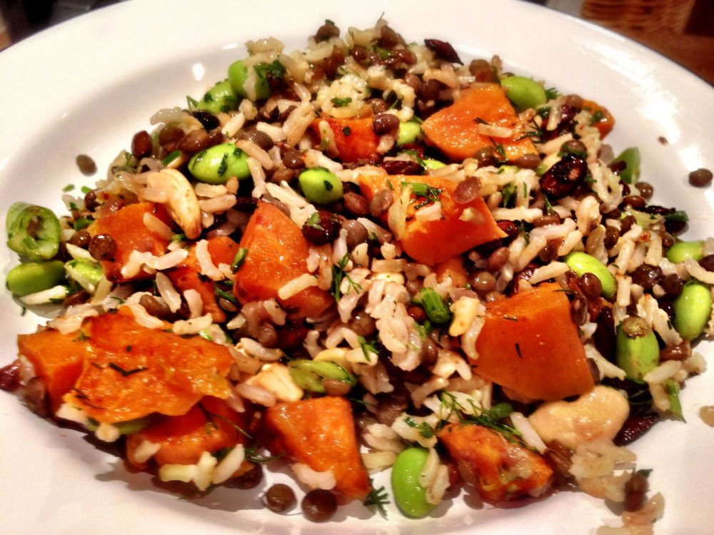 Puy Lentil, Brown Rice and Sweet Potato Salad