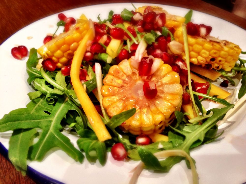 Thai Corn and Mango Salad with Pomegranate Relish