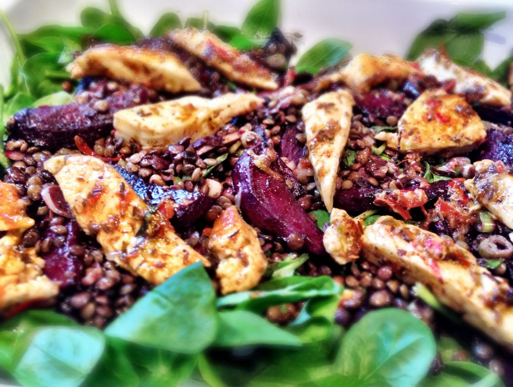 Spiced Halloumi on a Warm Puy Lentil, Spinach and Beetroot Salad
