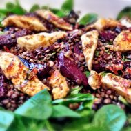 Beetroot Puy Lentil Spinach Halloumi