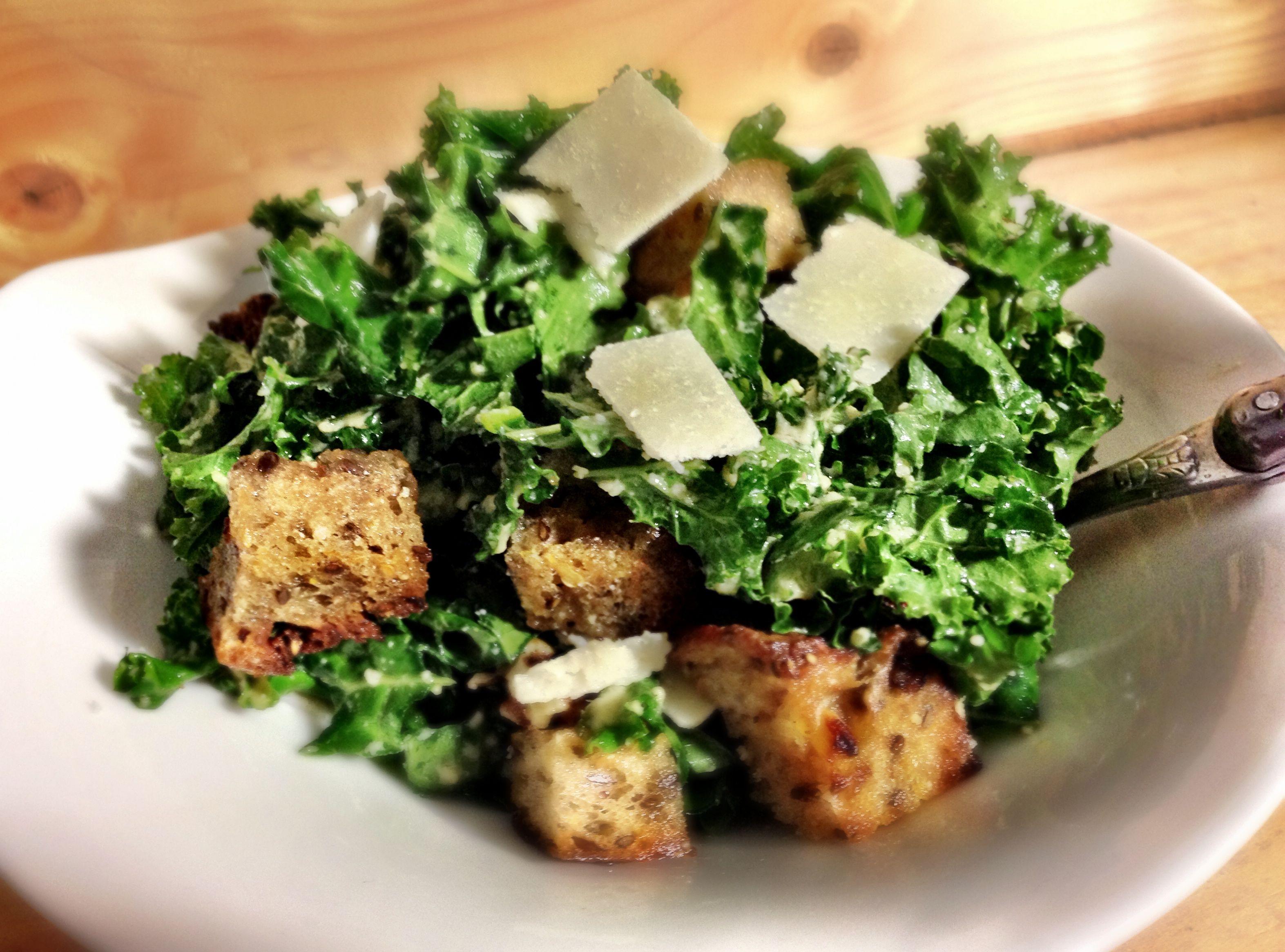 Kale Caesar Salad in a Bowl