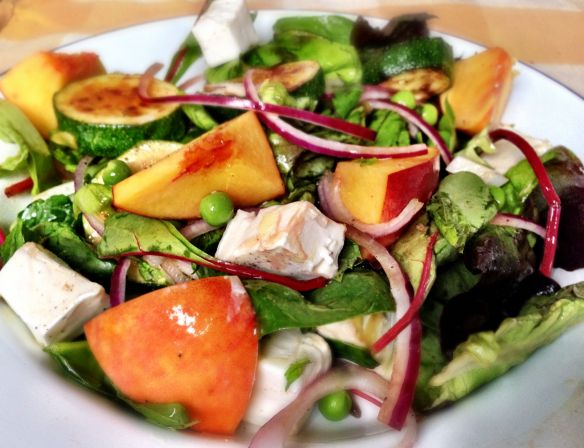 Peach, Courgette and Goats Cheese Salad
