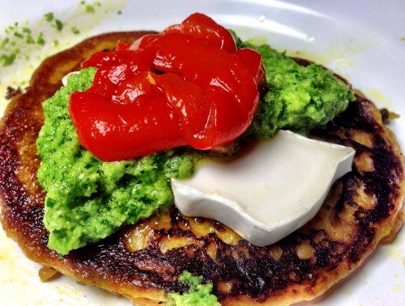 Sweet Potato Pancakes with Pea Pesto