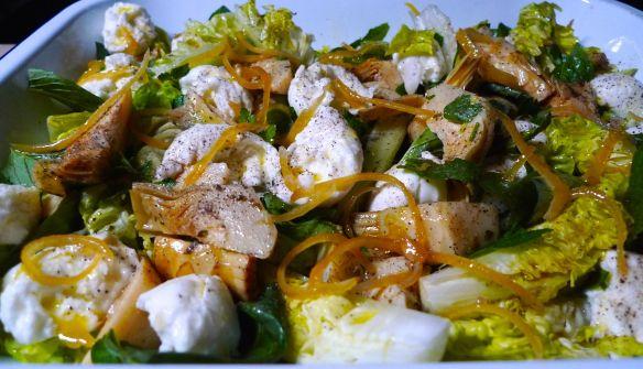 Globe Artichoke and Mozzarella with Candied Lemon