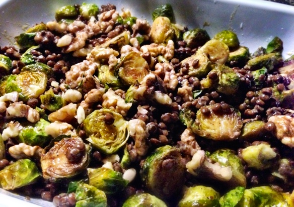 Brussels with Puy Lentils and Walnuts