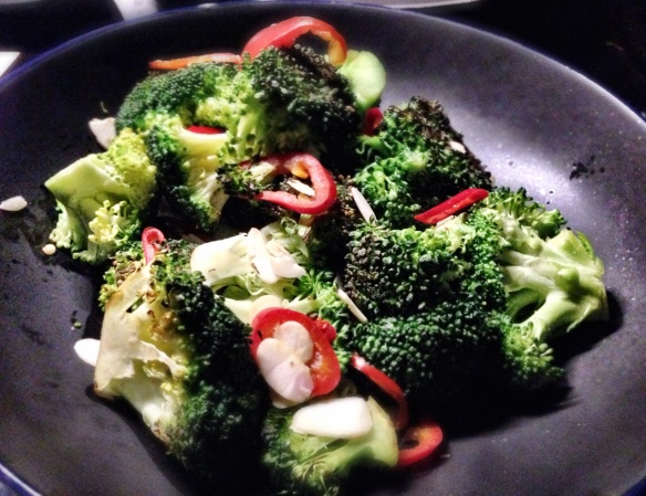 Dry Fried Broccoli with Toasted Almonds and Red Chilli
