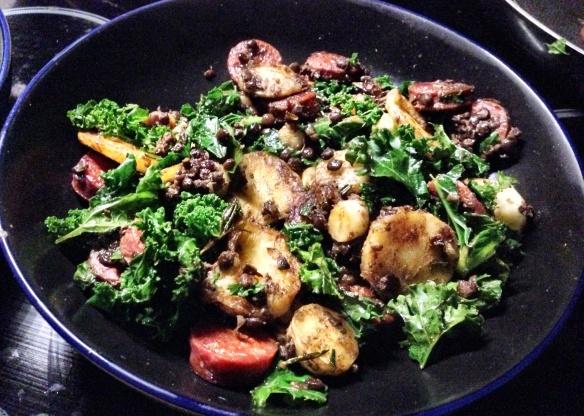 Parsnip, Chorizo, Kale and Lentils