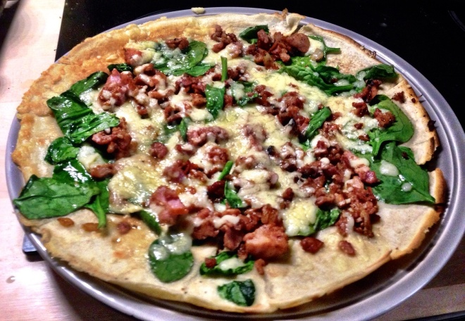 Bacon, Spinach and Cheddar Pancake